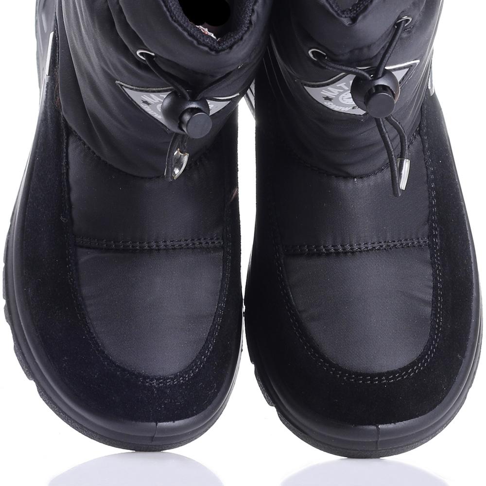 Сапоги Naturino с комбинации замши и текстиля черного цвета