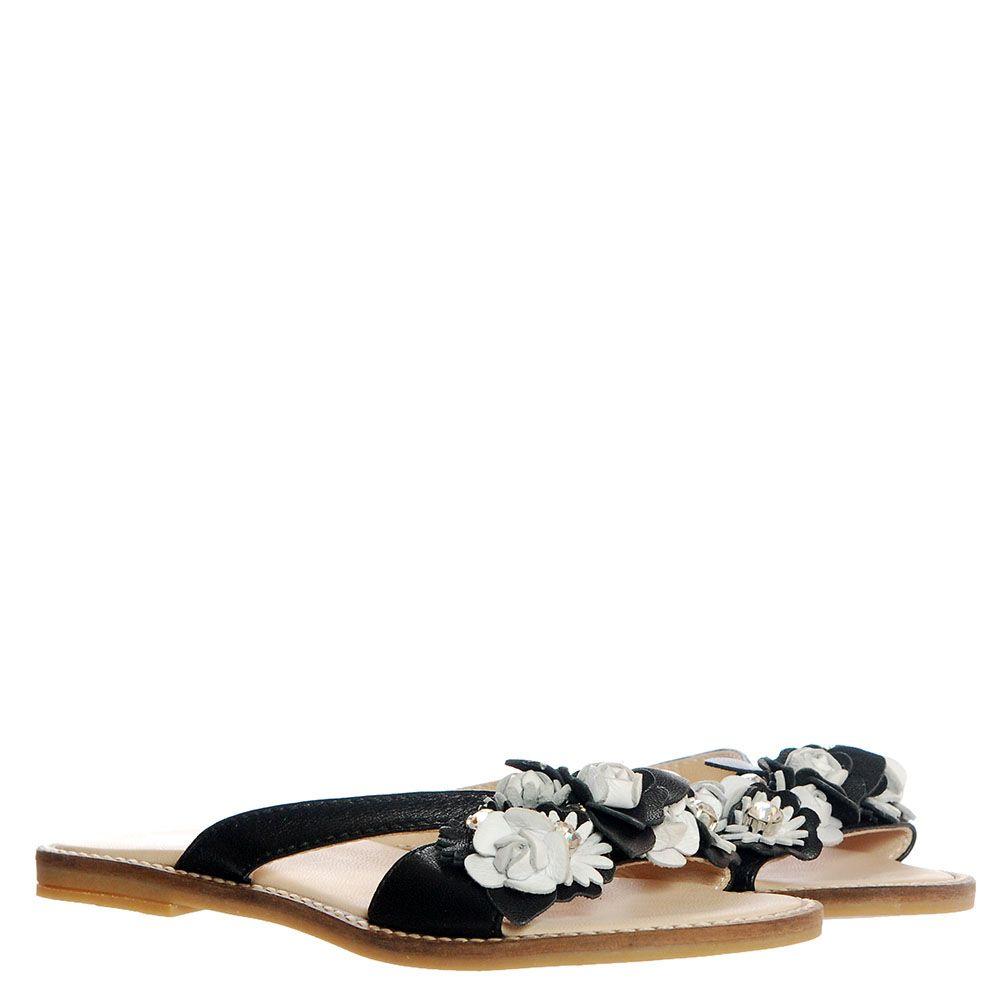 Сланцы из кожи черного цвета с белыми цветочками Florens