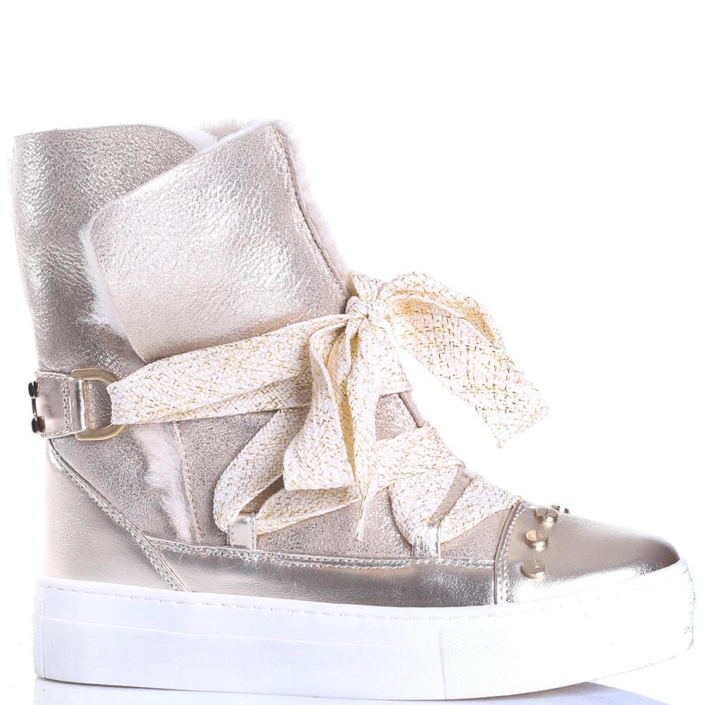 Золотистые ботинки Elisabetta Franchi на толстой подошве