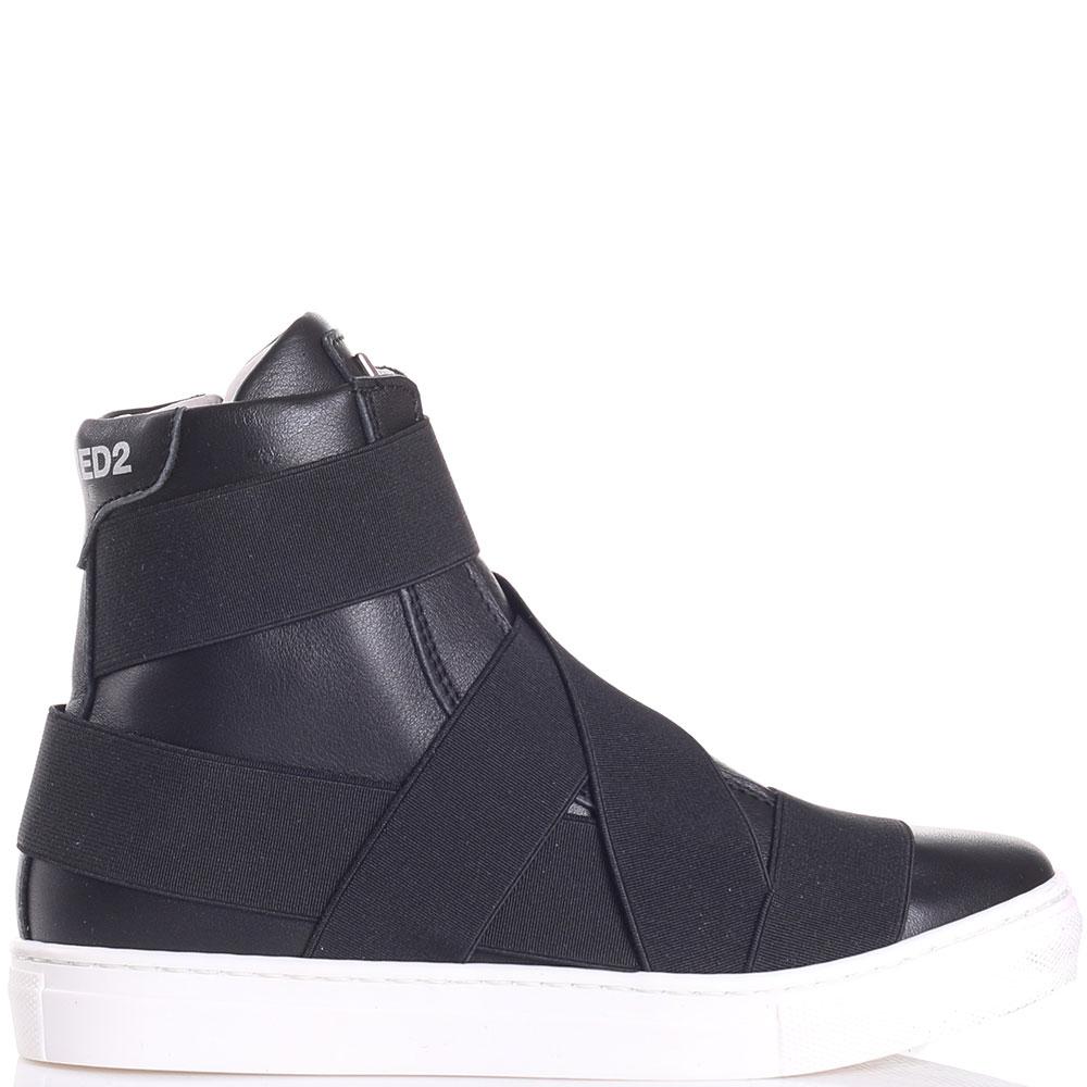 Черные ботинки Dsquared2 с декором-резинками