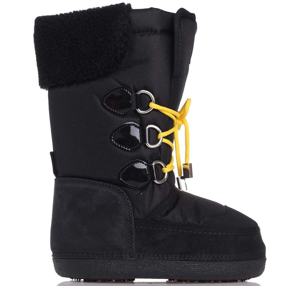 Черные сапоги Dsquared2 с желтыми шнурками
