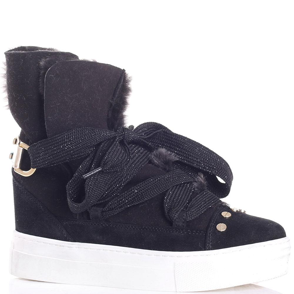 Черные зимние ботинки Elisabetta Franchi из замши