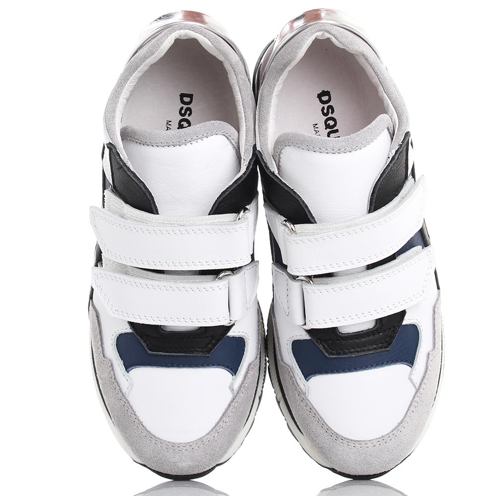 Детские кроссовки Dsquared2 из комбинации кожи и замши