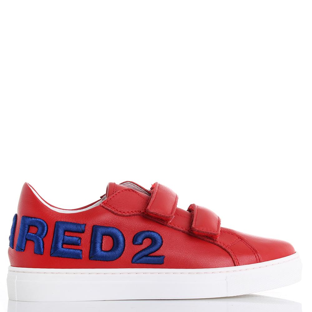 Детские кеды Dsquared2 красного цвета на липучках