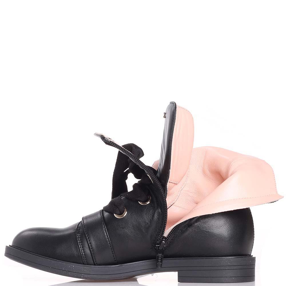 Черные ботинки Elisabetta Franchi с широкими шнурками
