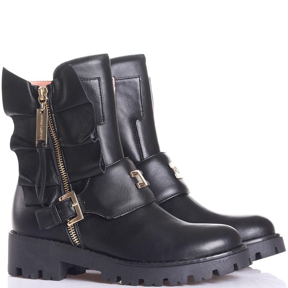 Черные ботинки из кожи Elisabetta Franchi с рюшами