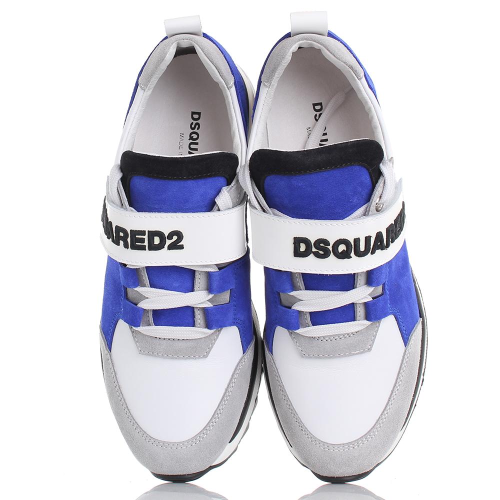 Кроссовки Dsquared2 из замши в серо-синем цвете