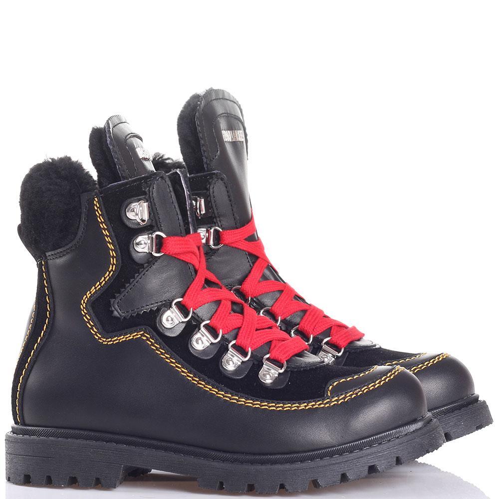 Черные ботинки Dsquared2 с красной шнуровкой