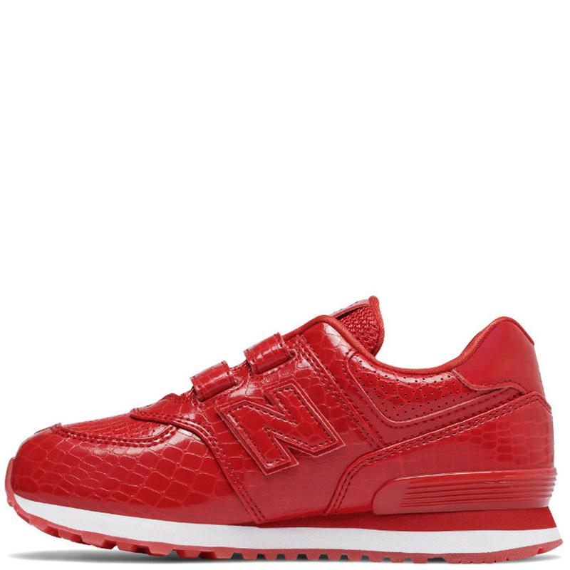 Красные кроссовки New Balance 574 на липучках