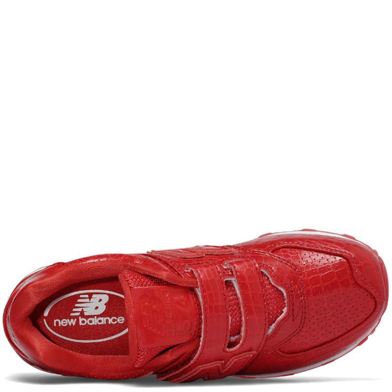 Кроссовки New Balance 574 на липучках красного цвета