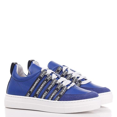 Синие кеды Dsquared2 на шнуровке, фото