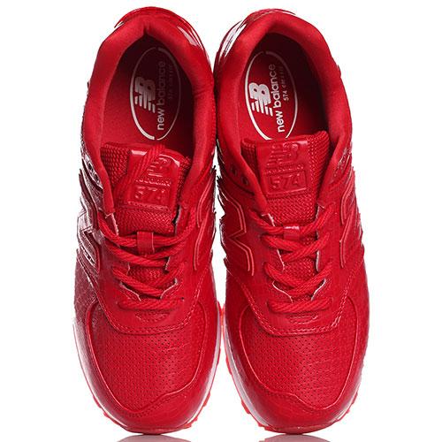 Кроссовки New Balance 574 красного цвета с элементами из тисненой кожи, фото
