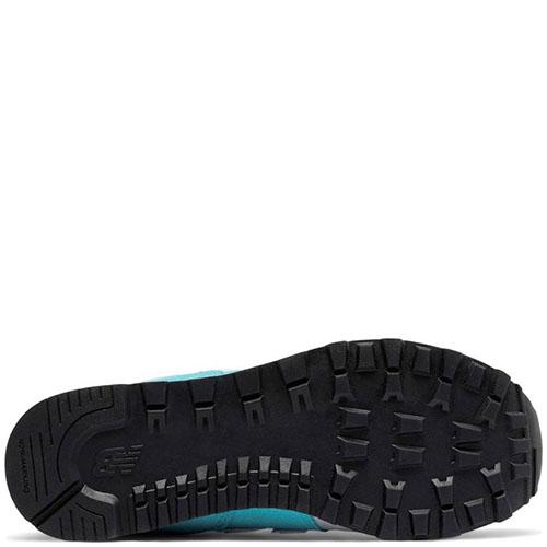 Кроссовки New Balance 574 Lifestyle из комбинации серой и голубой замши, фото