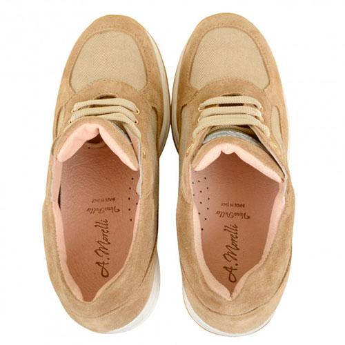 Бежевые замшевые кроссовки Andrea Morelli с золотистыми текстильными вставками, фото