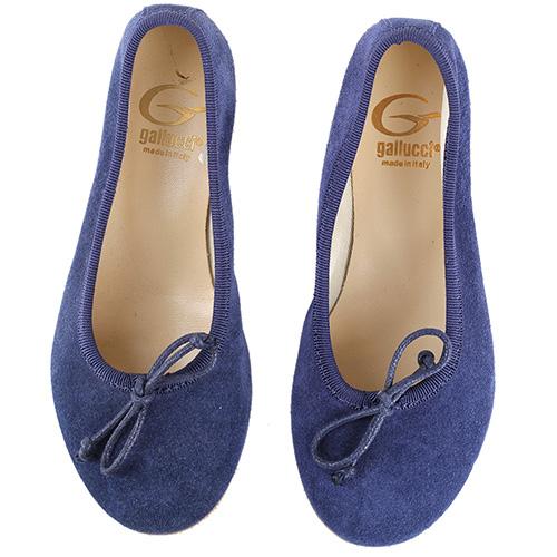 Замшевые балетки Gallucci синего цвета, фото