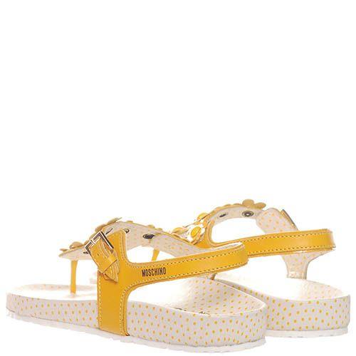Кожаные босоножки желтого цвета Moschino с декором из мелких цветочков, фото