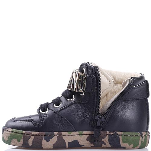 Высокие кроссовки Love Moschino из гладкой кожи черного цвета, фото