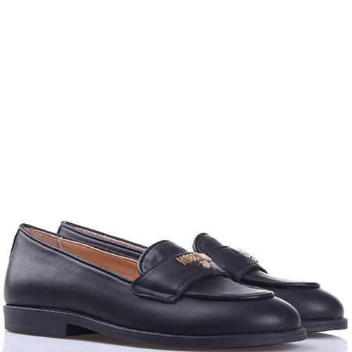 Черные туфли Moschino с брендовой надписью, фото