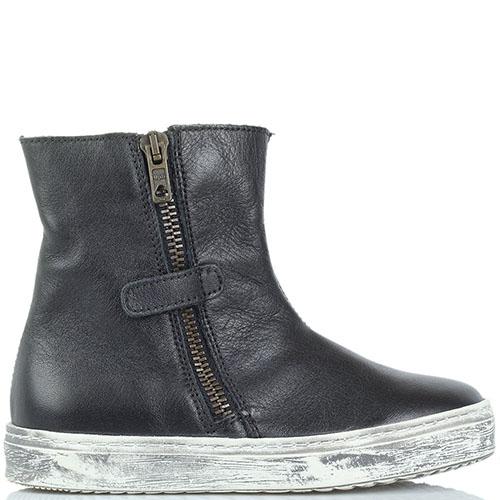 Высокие кожаные ботинки Naturino черного цвета на молнии, фото