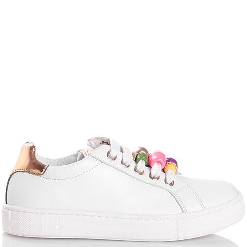 Белые кеды Naturino с бусинами на шнуровке, фото