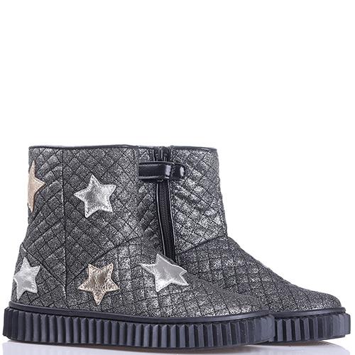 Серебристые ботинки Naturino с аппликацией в форме звезд, фото