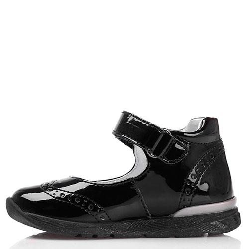 Черные лаковые туфли на ремешке Falcotto с декоративной перфорацией, фото