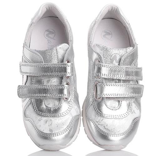 Серебристые кроссовки Naturino с декором-сердцами, фото