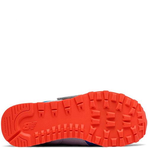 Кроссовки на липучках New Balance 574 Lifestyle из комбинации серой и синей замши, фото