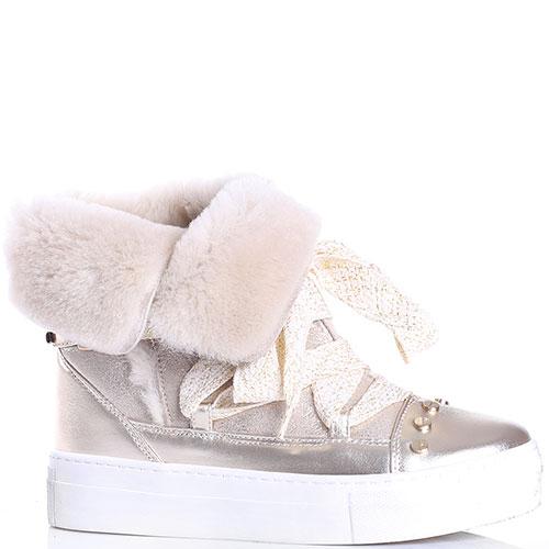 Золотистые ботинки Elisabetta Franchi на толстой подошве, фото