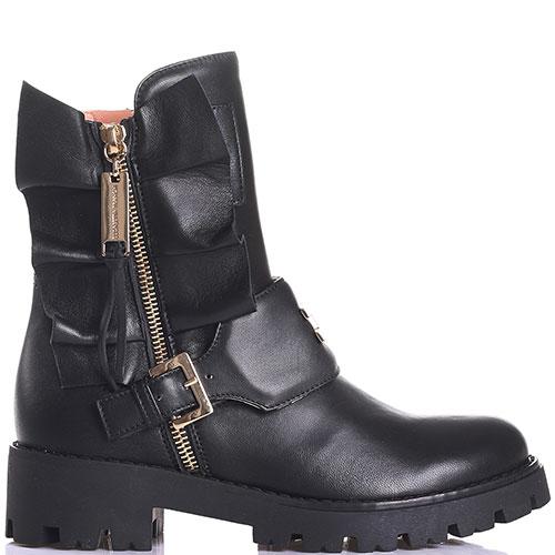 Черные ботинки из кожи Elisabetta Franchi с рюшами, фото