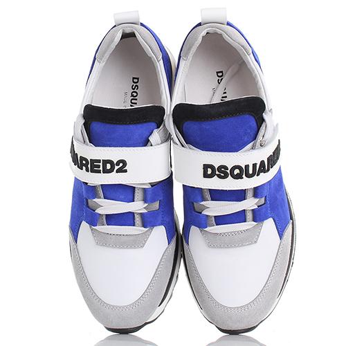 Кроссовки Dsquared2 из замши в серо-синем цвете, фото