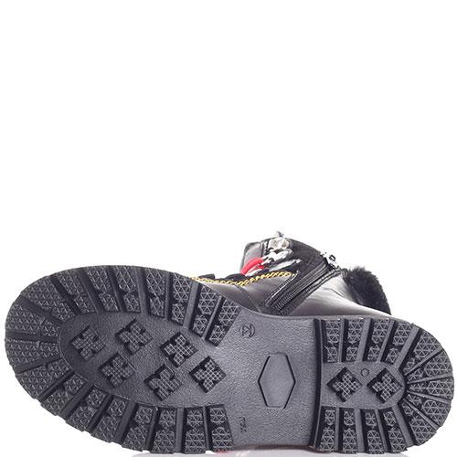 Черные ботинки Dsquared2 с красной шнуровкой, фото