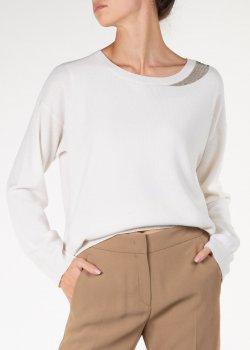 Белый джемпер Fabiana Filippi с серой вставкой, фото