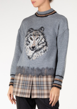 Шерстяной свитер Alberta Ferretti с изображением волка, фото