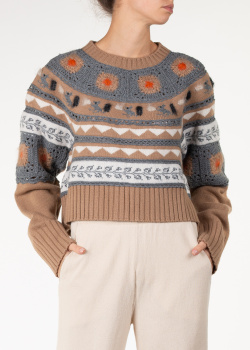 Коричневый свитер Alberta Ferretti с орнаментом, фото