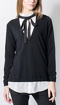 Пуловер-рубашка Sandro Ferrone  с воротиком плиссе, фото