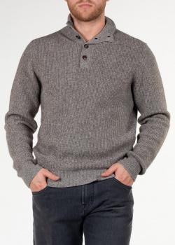 Серый свитер Luciano Barbera с воротником на пуговицах, фото
