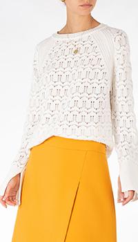Белый ажурный свитер Weill из кашемира и шерсти, фото