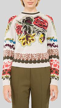 Серый свитер Etro с цветочным узором из альпаки, фото