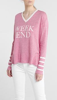 Розовый пуловер Quantum Courage с белыми полосами, фото