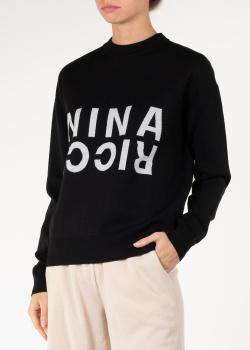 Шерстяной свитер Nina Ricci с брендовой надписью, фото