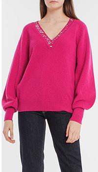 Малиновый пуловер Pinko с объемными рукавами, фото