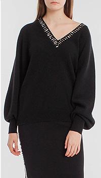 Шерстяной пуловер Pinko с декором вдоль выреза, фото