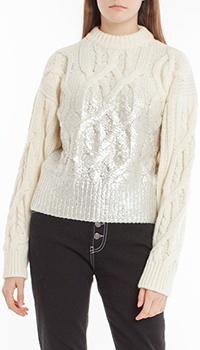 Вязаный свитер Pinko молочный с серебристой градацией, фото