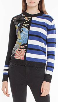 Шерстяной свитер Pinko с комбинированным принтом, фото
