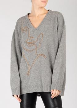 Пуловер оверсайз Pinko серого цвета с рисунком, фото
