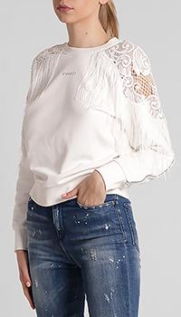 Белый джемпер Pinko с надписью и кружевом, фото