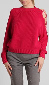 Женский свитер Pinko с вырезом на плече красного цвета, фото