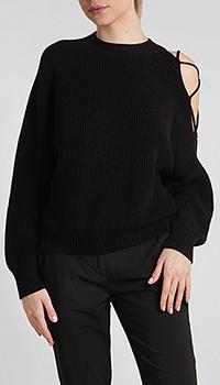 Женский свитер Pinko с вырезом на плече черного цвета, фото