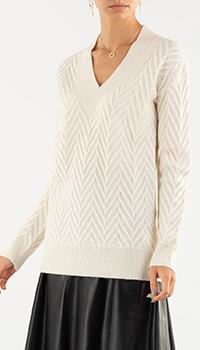 Белый пуловер Repeat Cashmere с кашемиром, фото